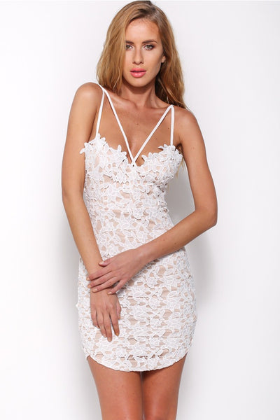 White lace low back backless short sexy cute summer dress