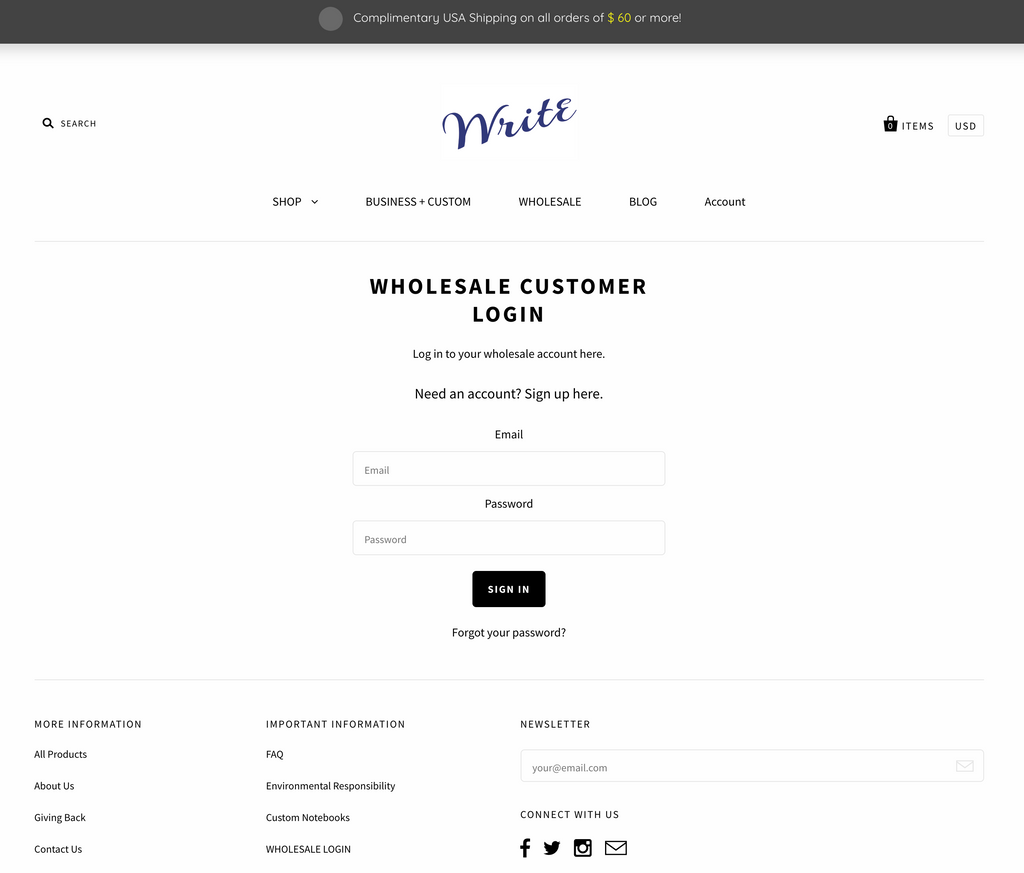 Wholesale Customer Login