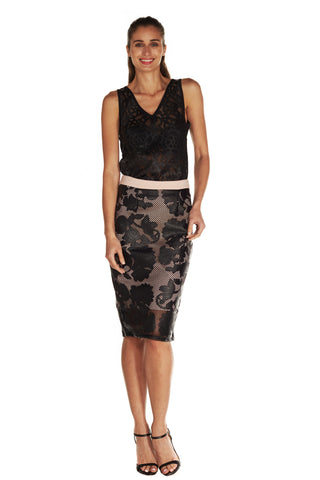 GWENYTH LASERCUT PENCIL SKIRT - Kelly & Port
