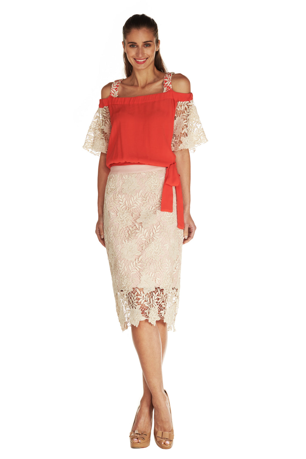 GWENYTH LACE PENCIL SKIRT - Kelly & Port