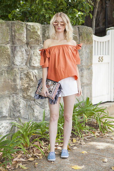 JULIA OFF THE SHOULDER BOW TOP - 50% OFF