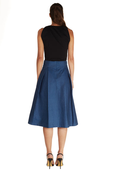 AMELIE GOLD BOX PLEAT SKIRT - Kelly & Port