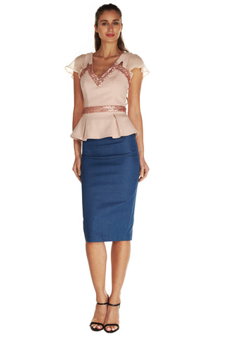 Gwenyth pencil skirt in denim - Kelly & Port