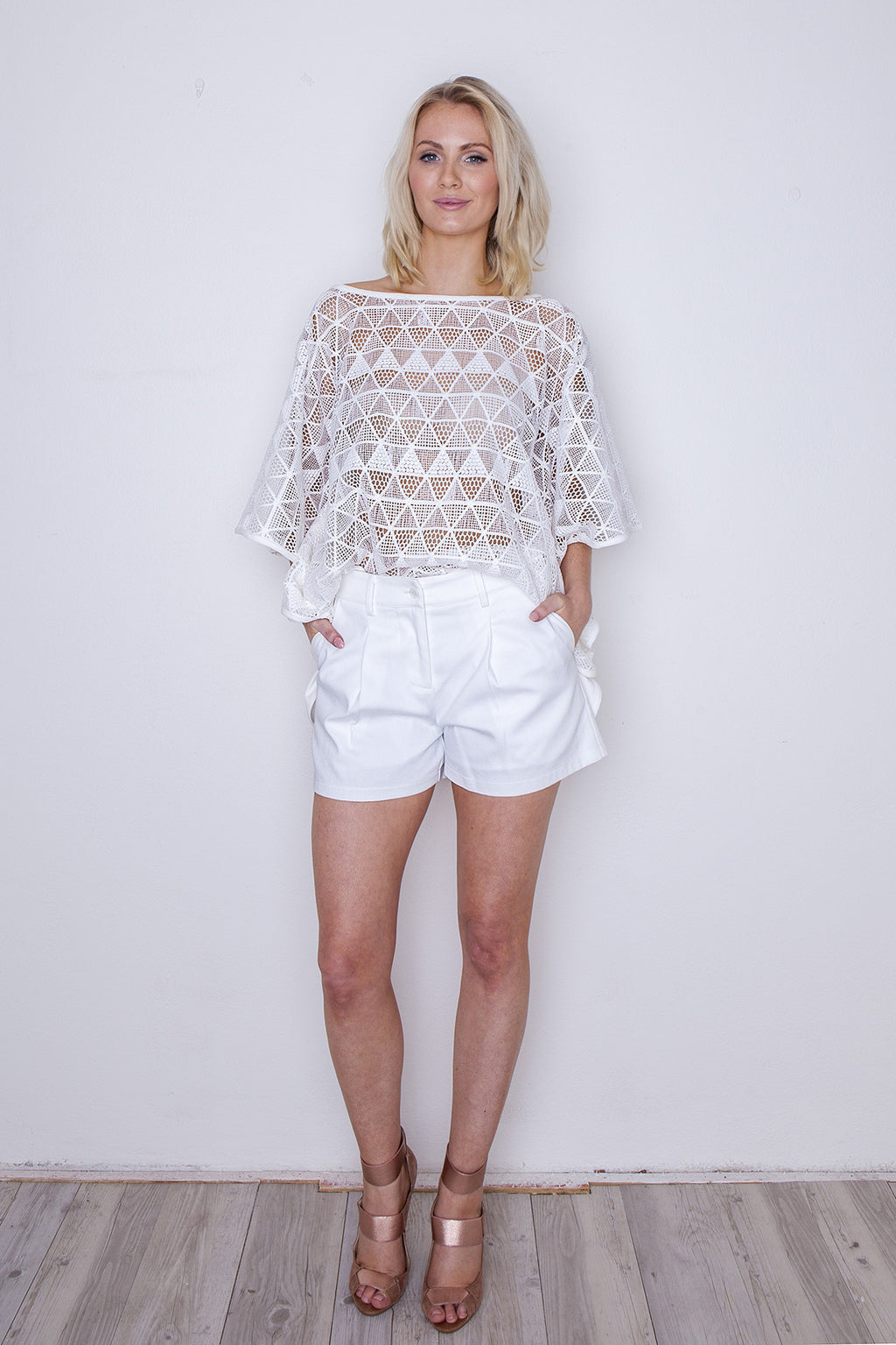 Kaftan, lace, white