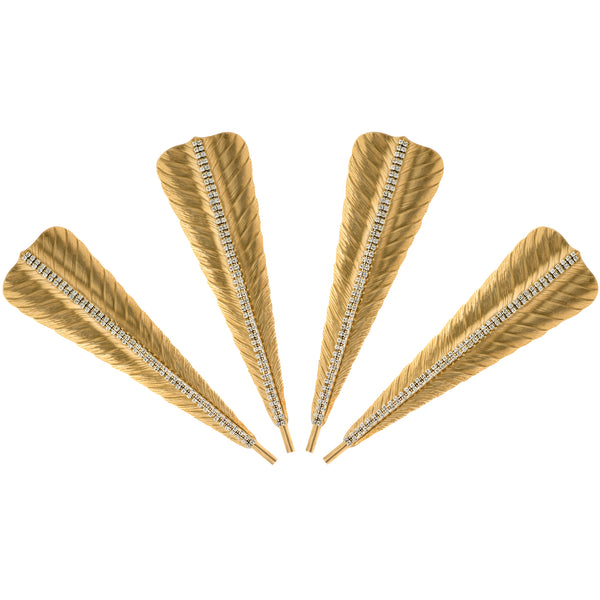 ALC Imperial Filigree Napkin Clip 10 set of 4 Feather with Brass and Silver