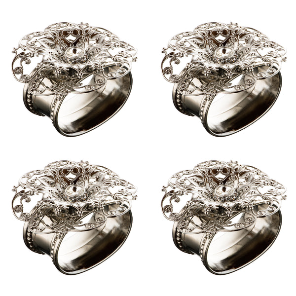 ALC Imperial Filigree Oval Stainless Steel Napkin Rings (set of four)