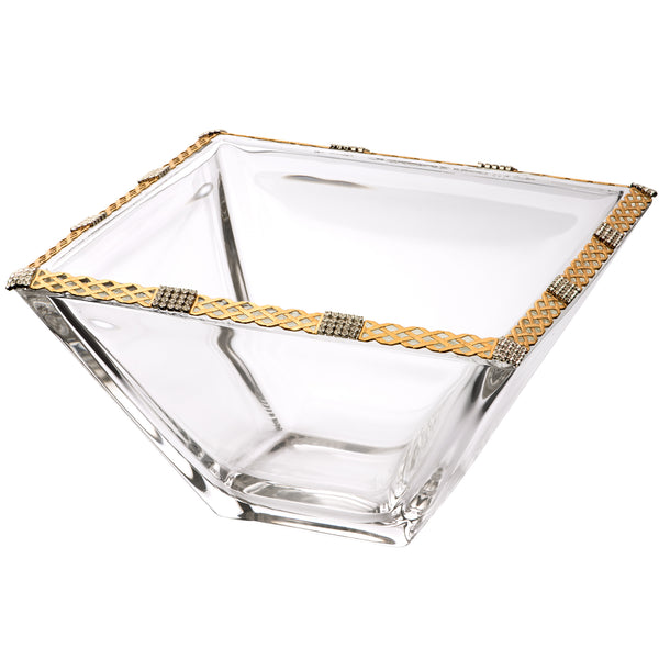 ALC 8in. Imperial Filigree Square Bowl Weave Silver with Brass