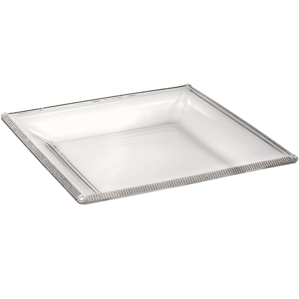 14in Square X 1.5in Deep Glass Bowl With Crystal Accents - Silver