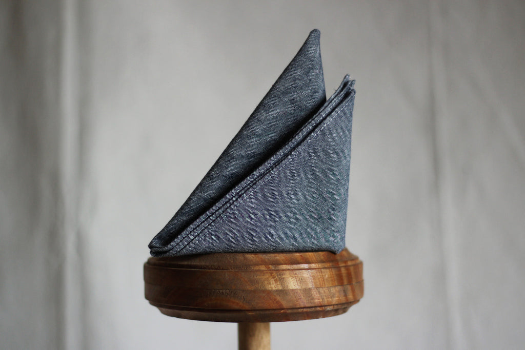 Handmade Chambray Pocket Square