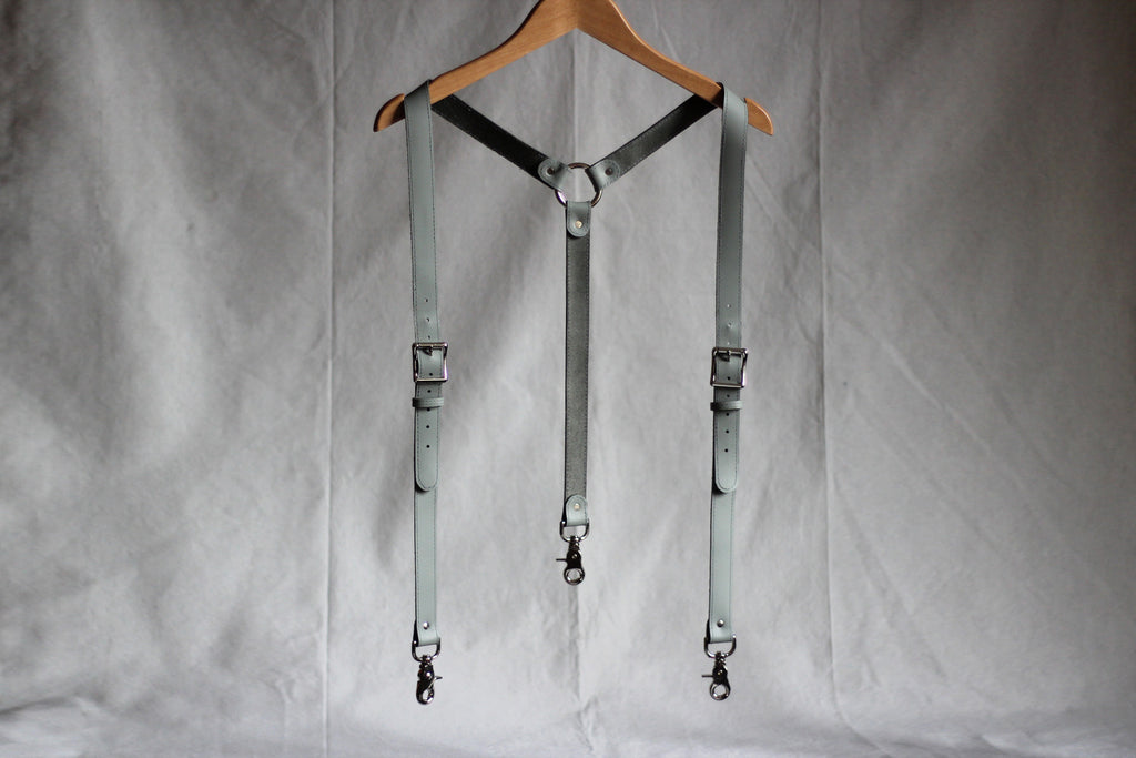 Gray Leather Suspenders