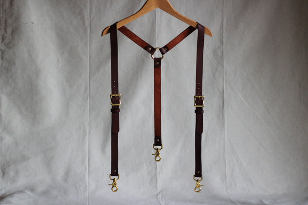 Burgundy Leather Suspenders