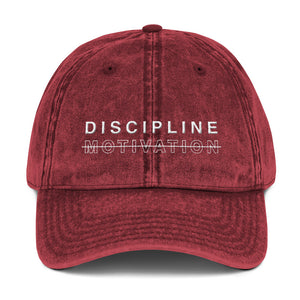 Discipline. Not Motivation. Vintage Cotton Twill Cap