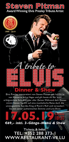 TICKET, A TRIBUTE TO ELVIS, DINNERSHOW, 17.05.2019