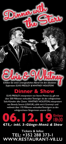 TICKET, ELVIS & WHITNEY, DINNERSHOW, 06.12.2019