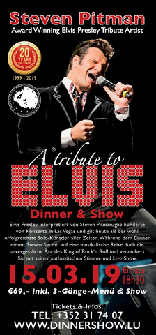 TICKET, A TRIBUTE TO ELVIS, DINNERSHOW, 15.03.2019