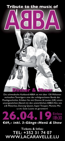 TICKET, TRIBUTE TO THE MUSIC OF ABBA, DINNERSHOW, 26.04.2019
