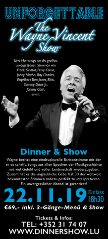 TICKET, UNFORGETTABLE, DINNERSHOW, 22.11.2019