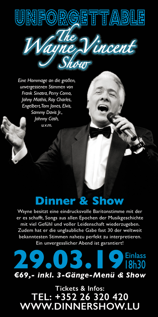 TICKET, UNFORGETTABLE, DINNERSHOW, 29.03.2019