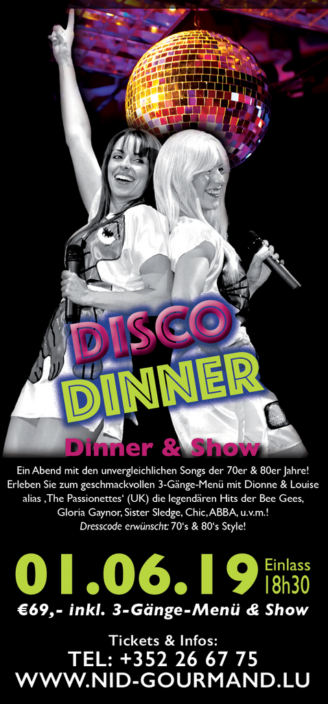 TICKET, DISCO DINNER, DINNERSHOW, 01.06.2019