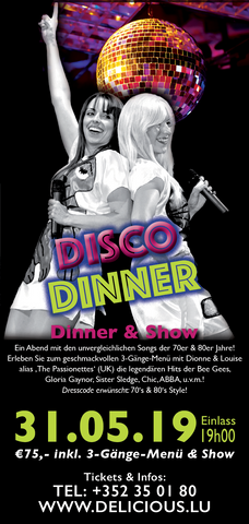 TICKET, DISCO DINNER, DINNERSHOW, 31.05.2019