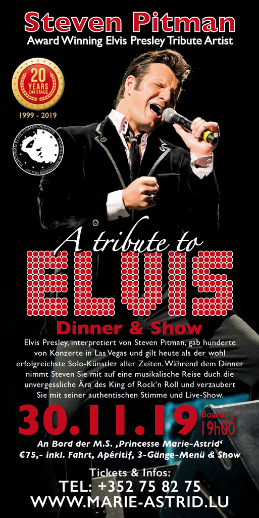 TICKET, A TRIBUTE TO ELVIS, DINNERSHOW, 30.11.2019