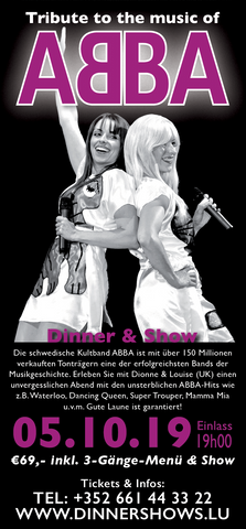 TICKET, TRIBUTE TO THE MUSIC OF ABBA, DINNERSHOW, 05.10.2019