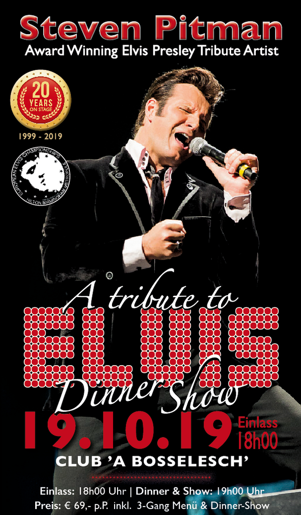 TICKET, A TRIBUTE TO ELVIS, DINNERSHOW, 19.10.2019