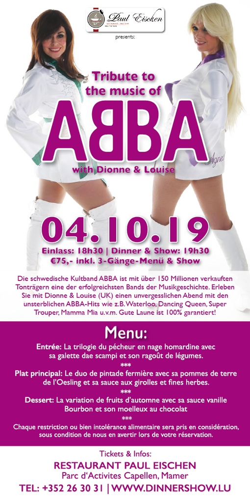 TICKET, TRIBUTE TO THE MUSIC OF ABBA, DINNERSHOW, 04.10.2019