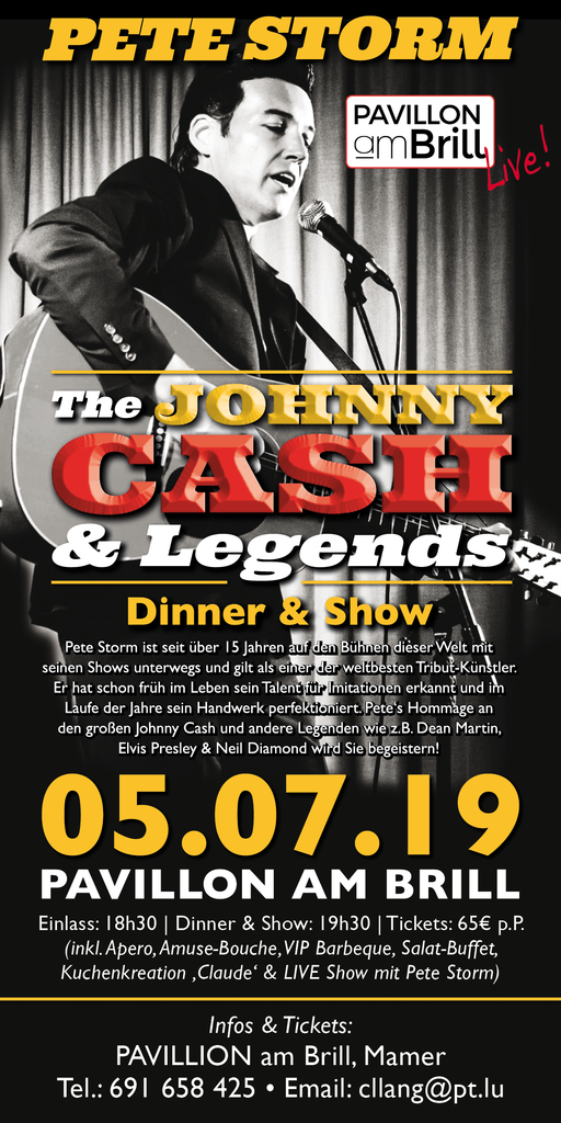 TICKET, JOHNNY CASH & LEGENDS, DINNERSHOW, 05.07.19