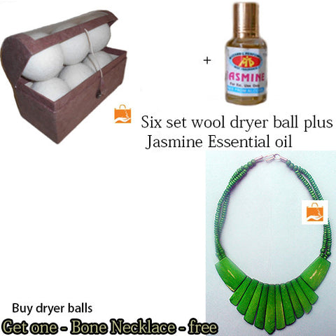 Wool Dryer Ball, set of 6 balls Natural Fabric Softener, Essential Oil get free Bone Necklace