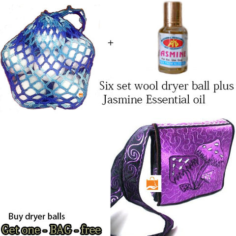 Wool Dryer Ball, set of 6 balls Natural Fabric Softener, Essential Oil get free bag