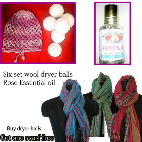 Wool Dryer Ball, set of 6 ball,Natural Fabric Softener get free cotton scarf