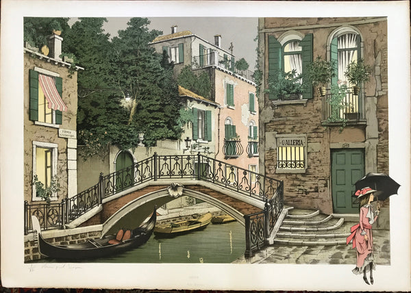 PONTE BARNABA, VENICE   - RARE BEAUTIFUL XL FRENCH LITHOGRAPH - DENIS PAUL NOYER