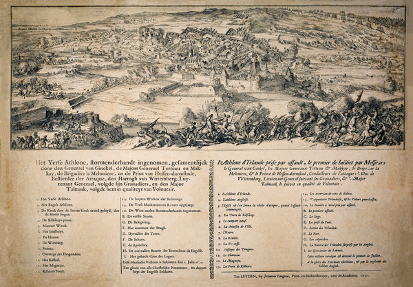 SIEGE OF ATHLONE 1691 WITH DUTCH & FRENCH NARRATIVE limited 2020 edition lithograph