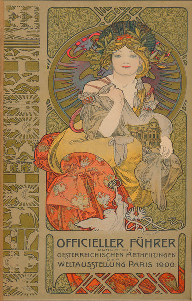 Alphonse Mucha magnificent  frontispiece for the Austrian Pavilion Brochure at Paris 1900 World Fair
