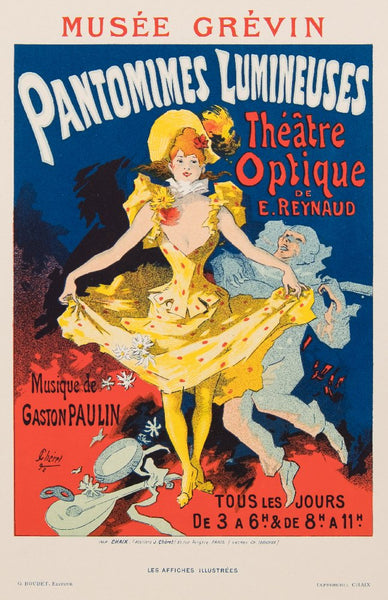 Jules Cheret  Original Lithograph  1896 Pantomimes Lumineuses Les Affiches Illustrees