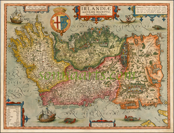 Boazio 1599 Beautiful Map of Ireland limited edition print 2017