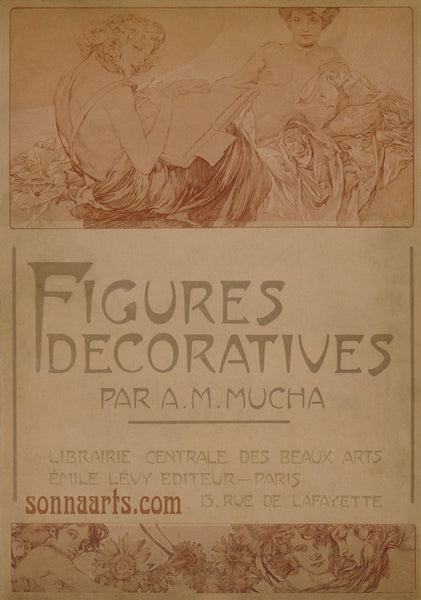 Front Cover of the folio Figures Decoratives by Alphonse Mucha 1905 special limited edition print 2017