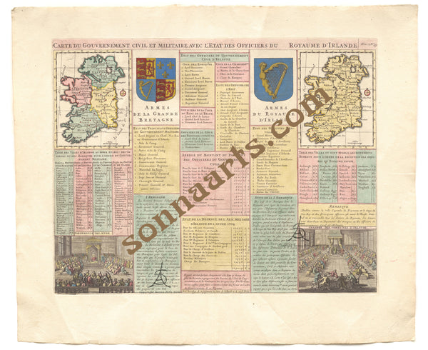 French Civil and Military Intelligence Map of Ireland 1708