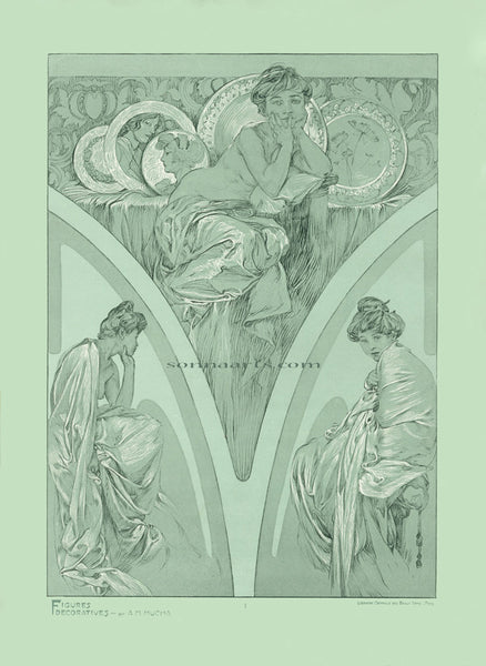 Plate 1 of the folio Figures Decoratives by Alphonse Mucha 1905 special limited edition print 2017
