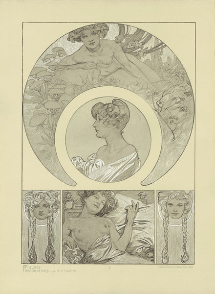 Plate 2 of the folio Figures Decoratives by Alphone Mucha 1905 special limited edition 2017