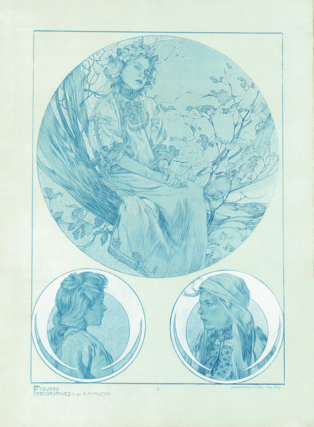 Plate 3 of the folio Figures Decoratives by Alphonse Mucha 1905 limited edition print 2017