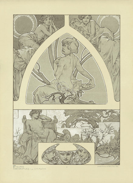 Plate 4 of the folio Figures Decoratives by Alphonse Mucha 1905 special limited edition print 2017