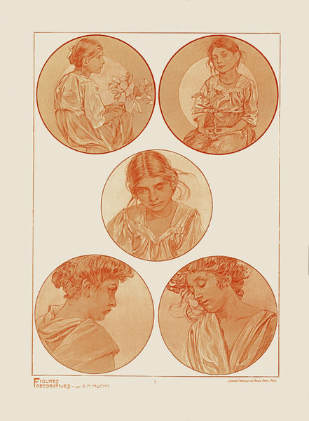 Plate 5 of the folio Figures Decoratives by Alphonse Mucha 1905 special limited edition print 2017