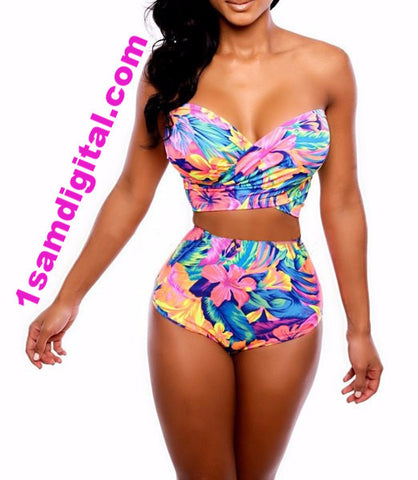 Plunging Neck Floral Print High-Waisted Women's Tropical Swimwear Suit