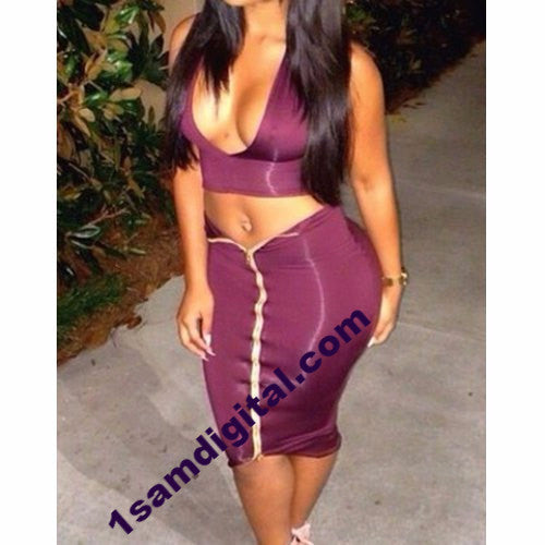 Zippered Bodycon Suit For Women Plunging Neckline - 1Sam Digital