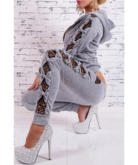 Hooded Long Sleeve Leopard Spliced Drawstring Pants Women's - 1Sam Digital