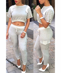Short Sleeve Color Casual Jewel Neck Drawstring Pants Women's Twinset - 1Sam Digital