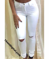 Solid Color Knee Cut Out Frayed Jeans For Women - 1Sam Digital