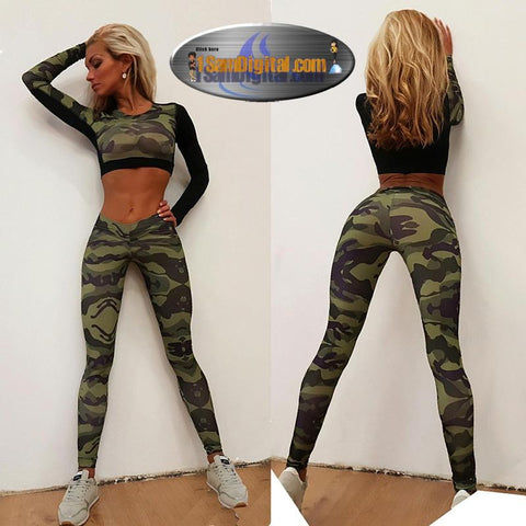 Owlprincess Camouflage Print Yoga suit For Women 2 Pieces Sexy Full Top And Long Pants Yoga Sets Gym Fitness Sports Running Suit